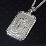 Saint Christopher Rectangular Pendant (large) Silver, personalised engraved ref. SCRPL